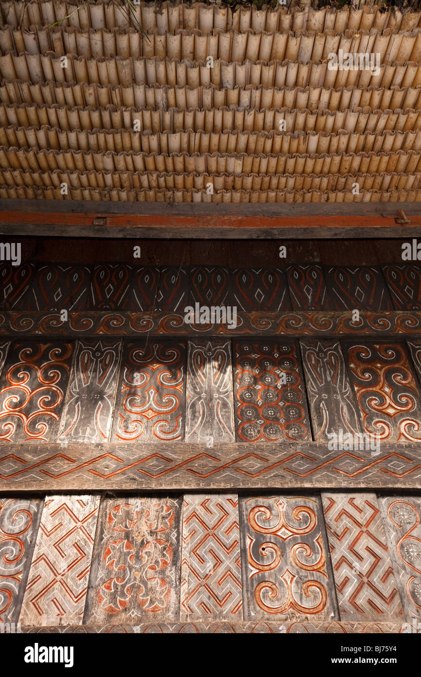 Indonesia, Sulawesi, Tana Toraja, Lemo, traditional tongkonan house, decoration and roof construction detail - Stock Image