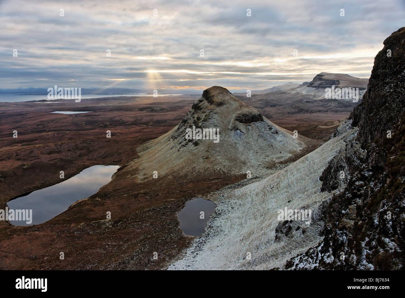 Cleat and the Trotternish scarp slope, Isle of Skye, Scotland, UK. - Stock Image