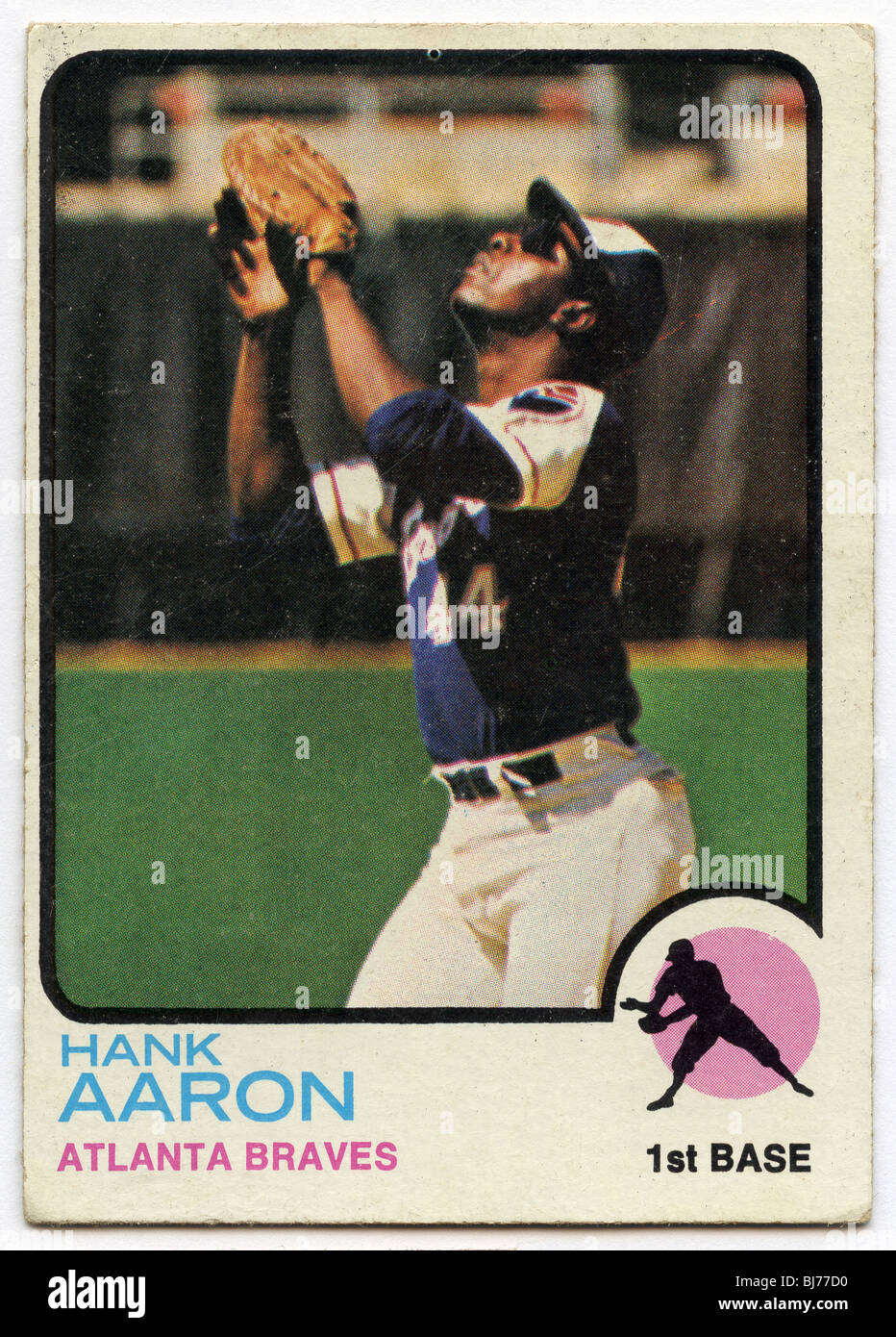 Collectible Baseball Card Hank Aaron Of Atlanta Braves Stock Photo