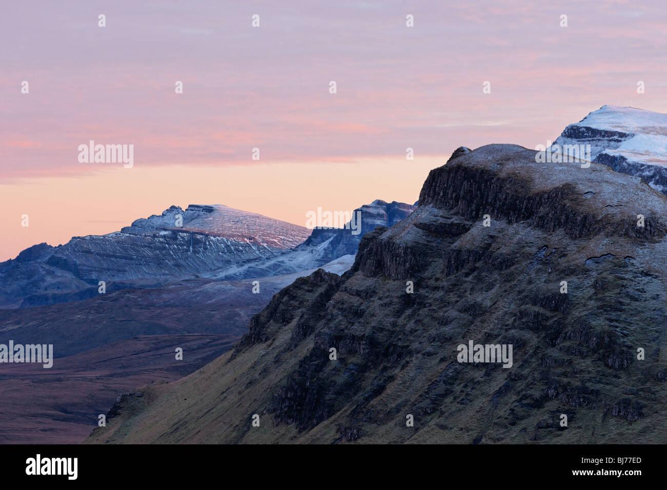 View along the Trotternish scarp slope to The Storr, Isle of Skye, Scotland, UK. - Stock Image