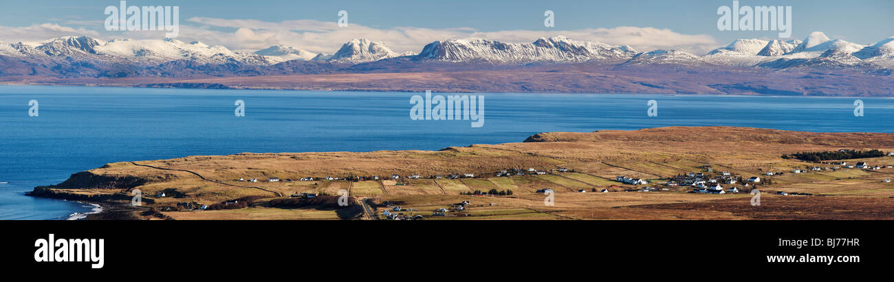 Staffin, Trotternish, Isle of Skye, Scotland, UK. View over The Minch to the west coast of the Scottish mainland. Stock Photo
