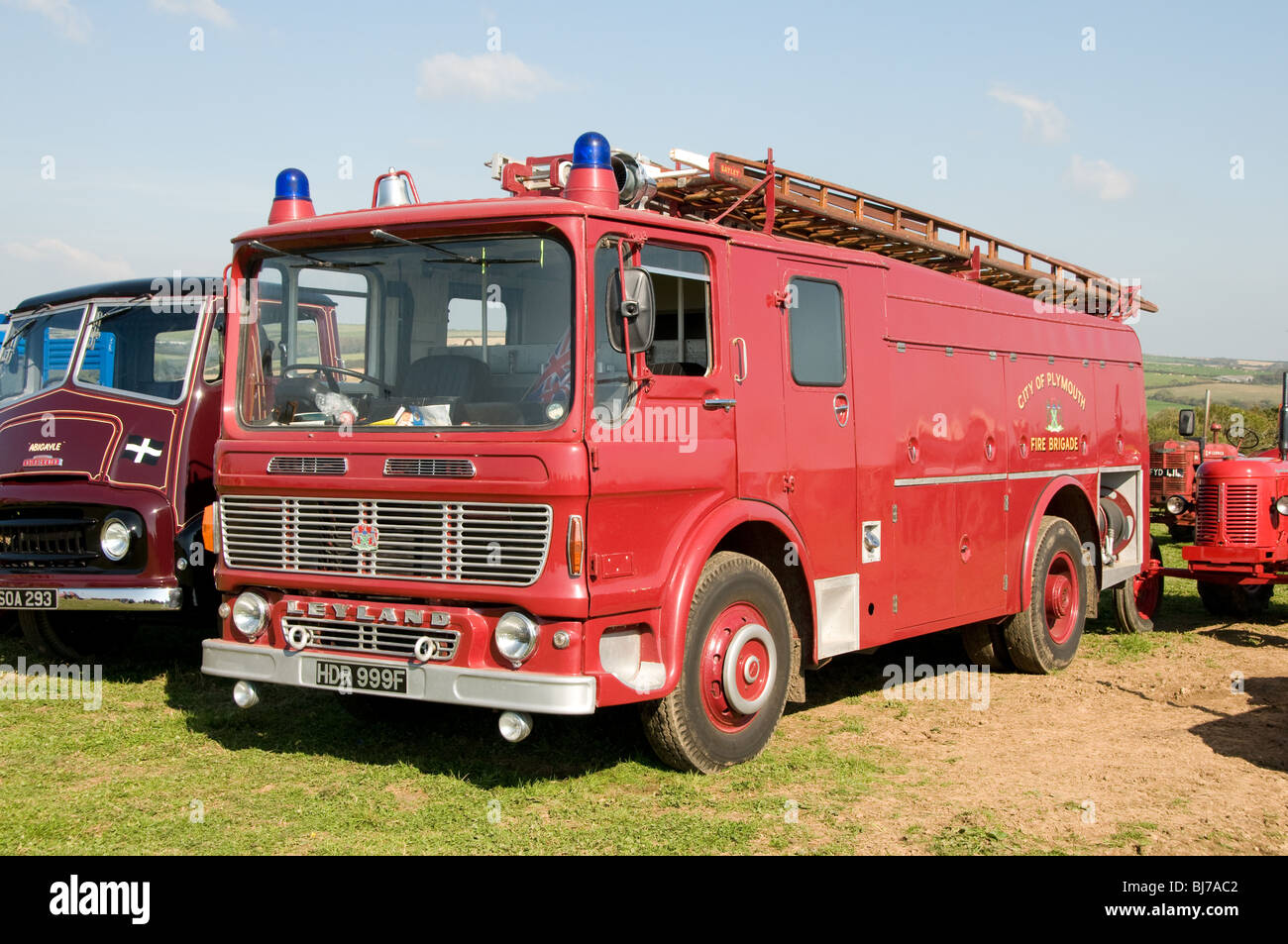 A preserved Leyland fire engine that used to be operated by the City of Plymouth Fire Service. - Stock Image