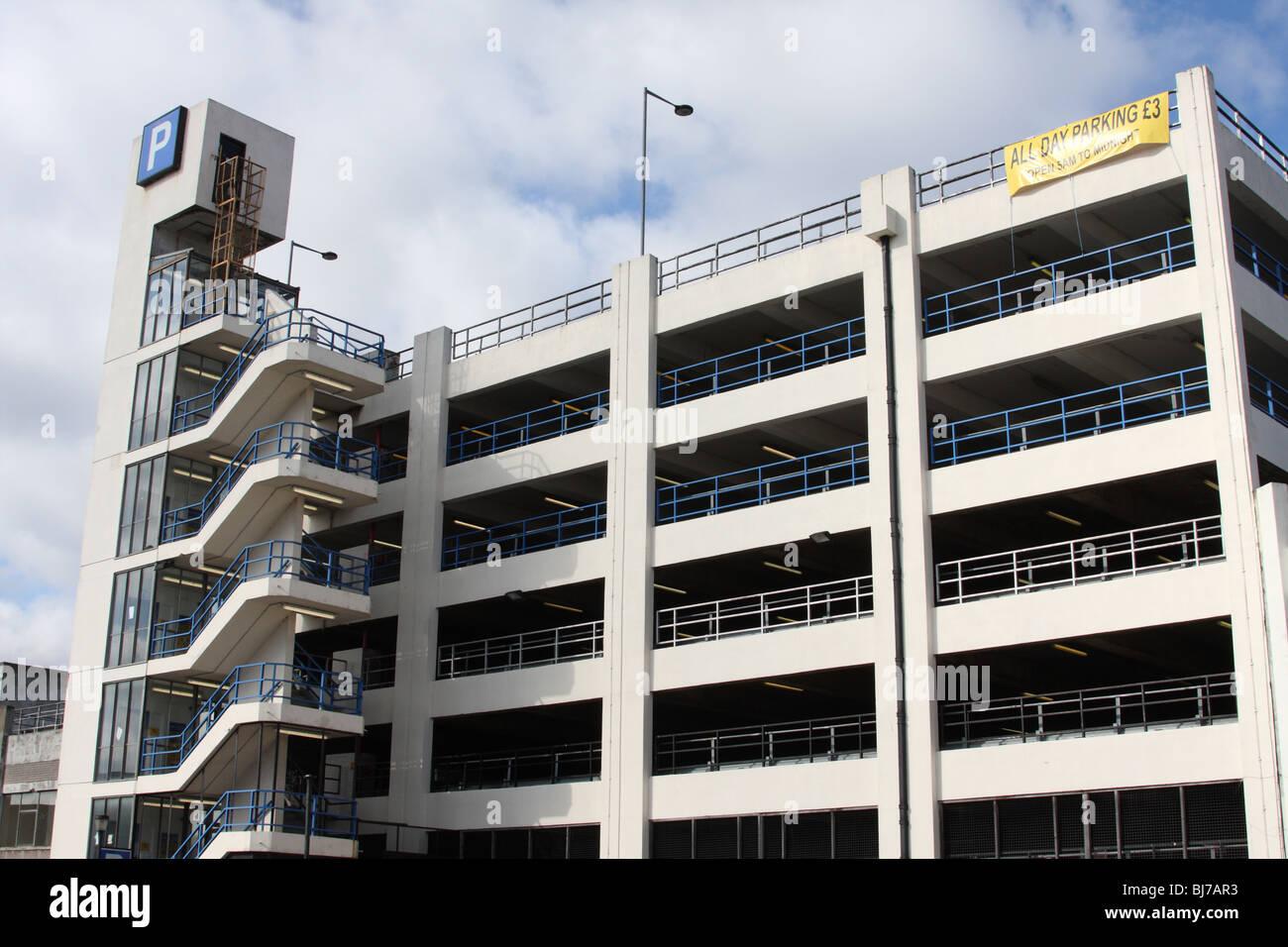 A multi-storey car park in a U.K. city. Stock Photo