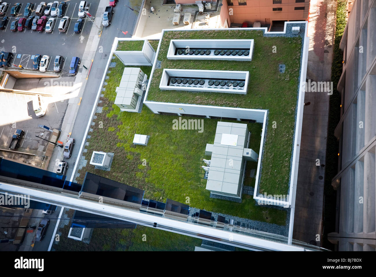 Green Roof of Olive 8 Condominium and Hotel - Downtown Seattle, Washington. The building has one of the largest - Stock Image