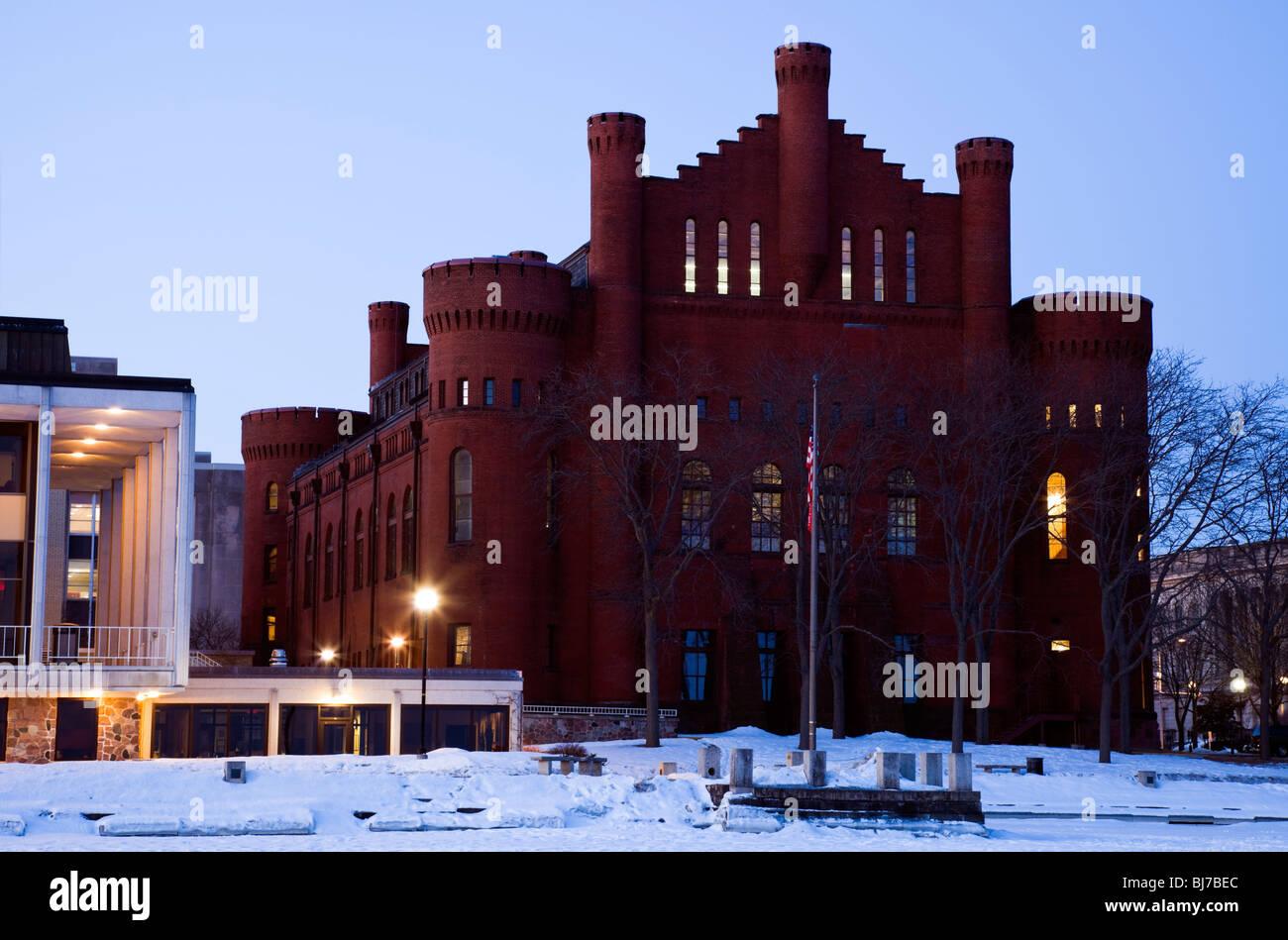Historic Building - University of Wisconsin - seen from frozen Lake Mendota. Stock Photo