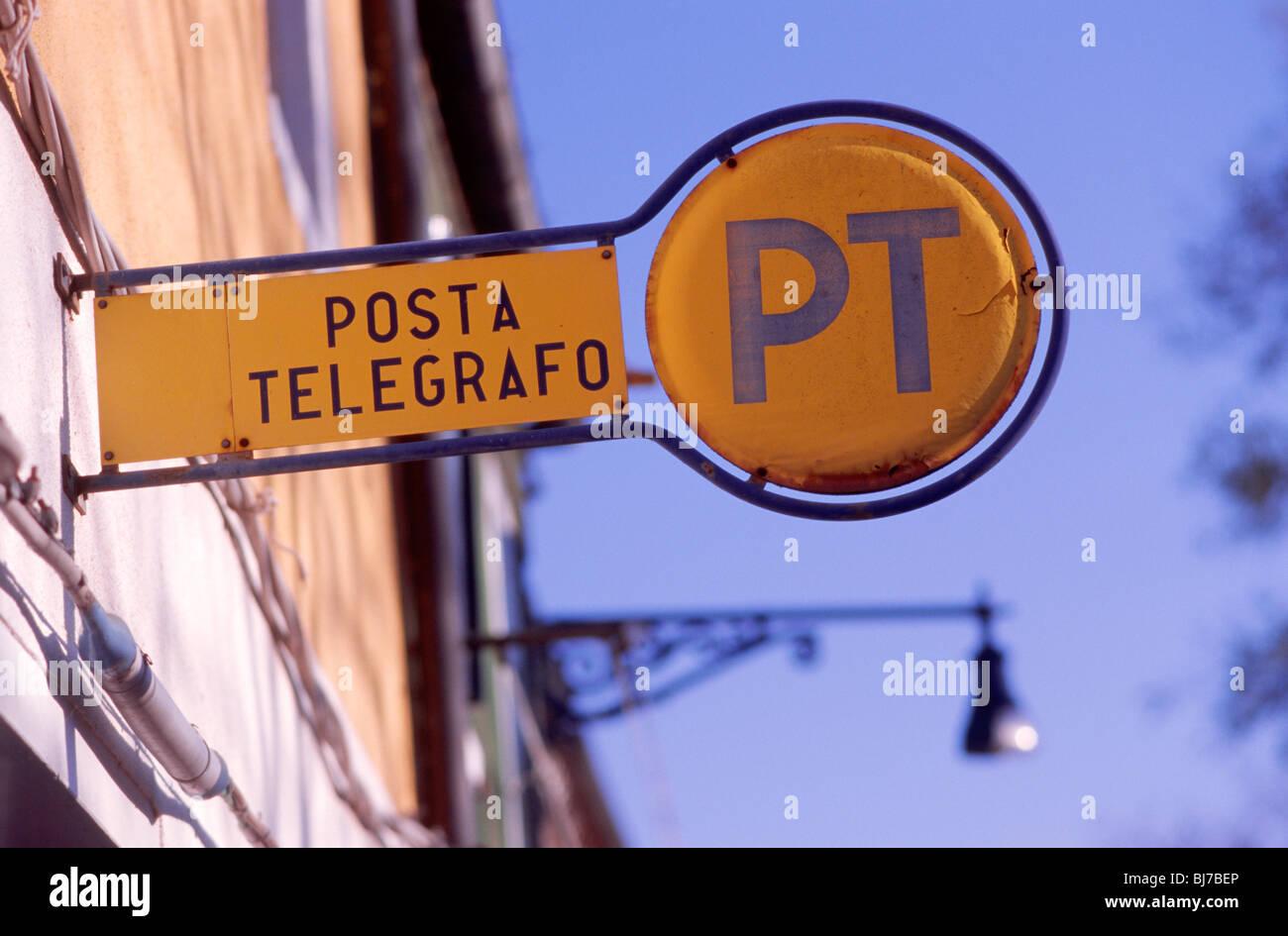 Venice, March 2008 -- Italian postal service sign 'Posta Telegrafo' on Burano, an island in the Venetian - Stock Image