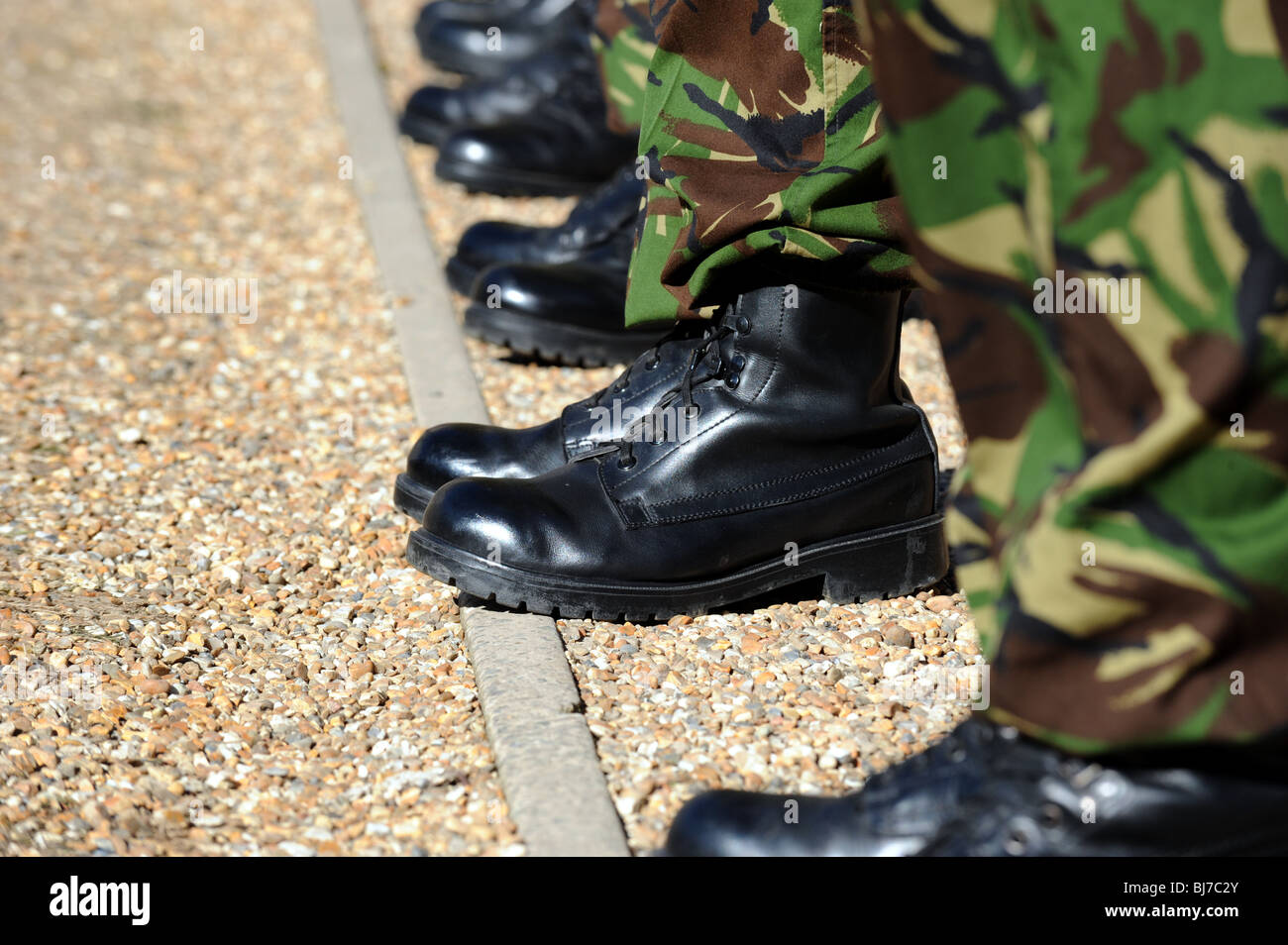 highly polished british army boots on a parade ground stock photo