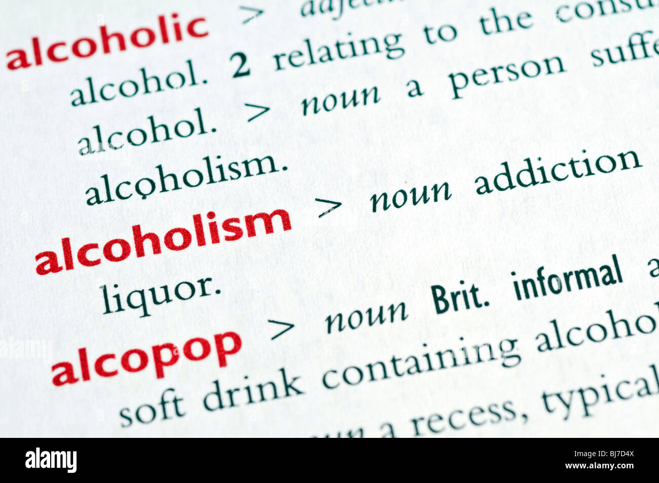 "dictionary definition of the word ""alcoholism stock photo: 28438170"