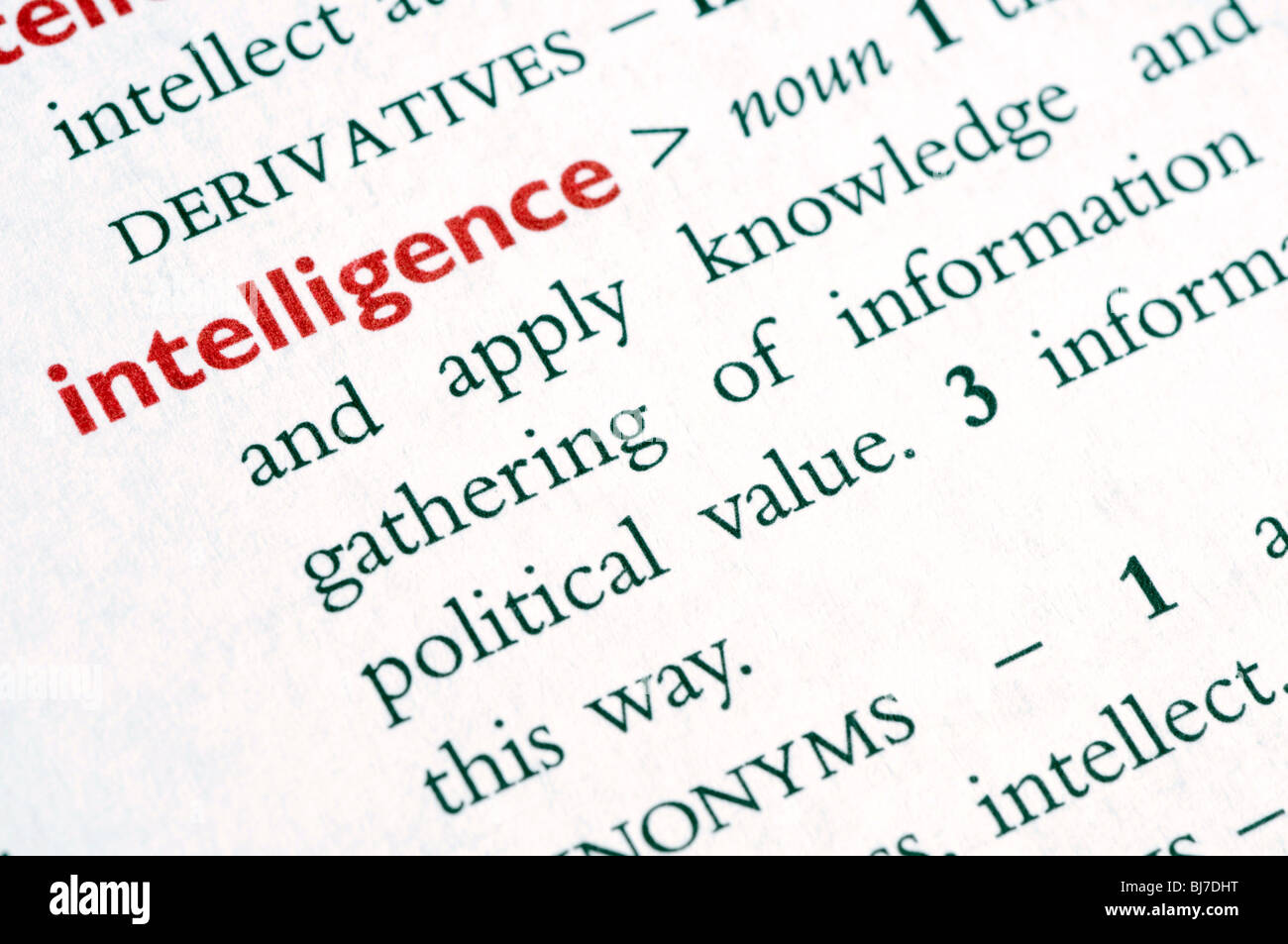 "dictionary definition of the word ""intelligence stock photo"