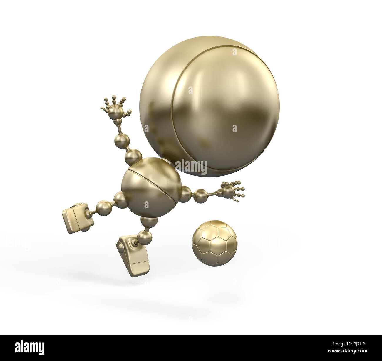 Golden Footballer in air kicks the ball. Gold figurine of football player - Stock Image