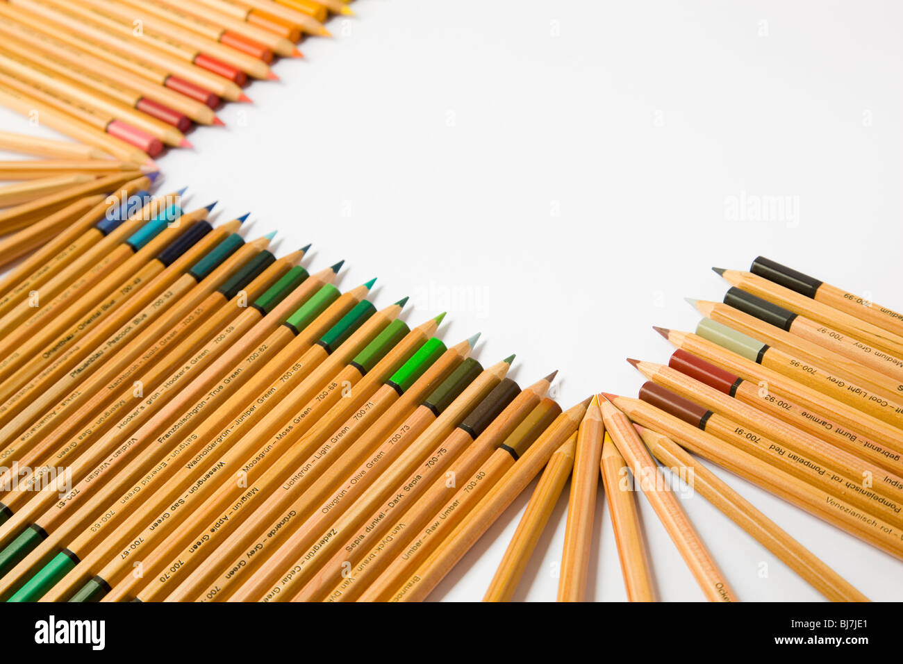 Oblique composition with colored pencils - Stock Image