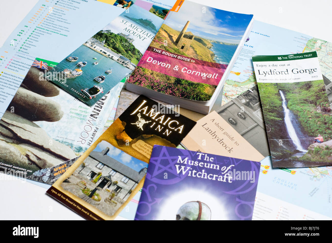 A selection of travel guide books and leaflets about Cornwall in England, UK - Stock Image