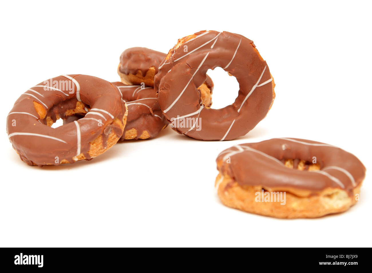 doughnuts over white background - Stock Image