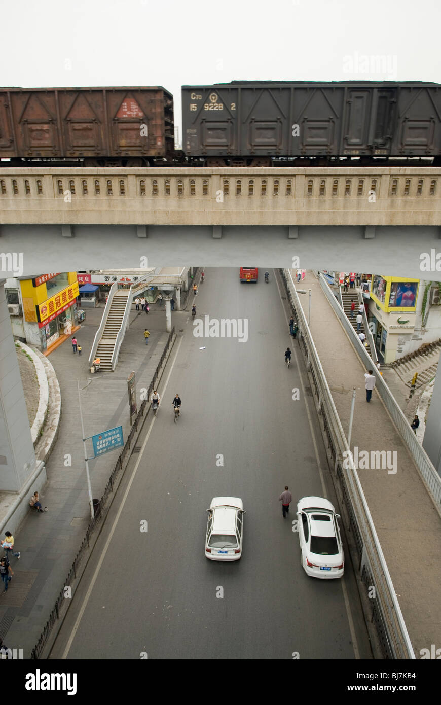 Railroad flyover in Wuhan, Hubei province , China. - Stock Image