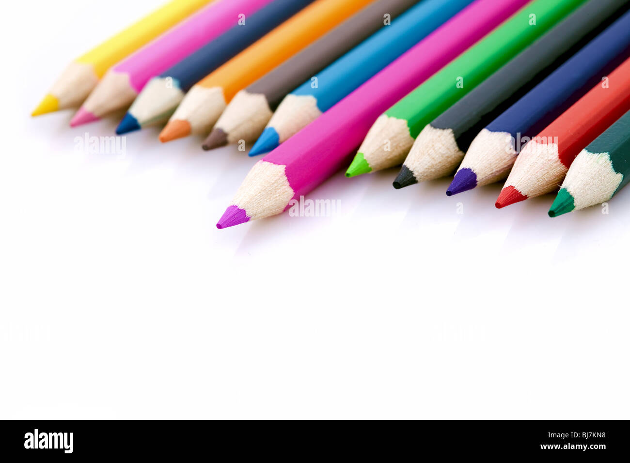 Winner or success metaphor with colorful pencils - Stock Image