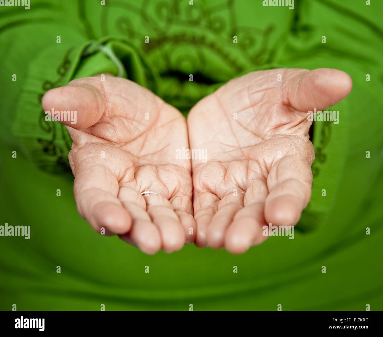 Close up on old hands of senior woman - Stock Image