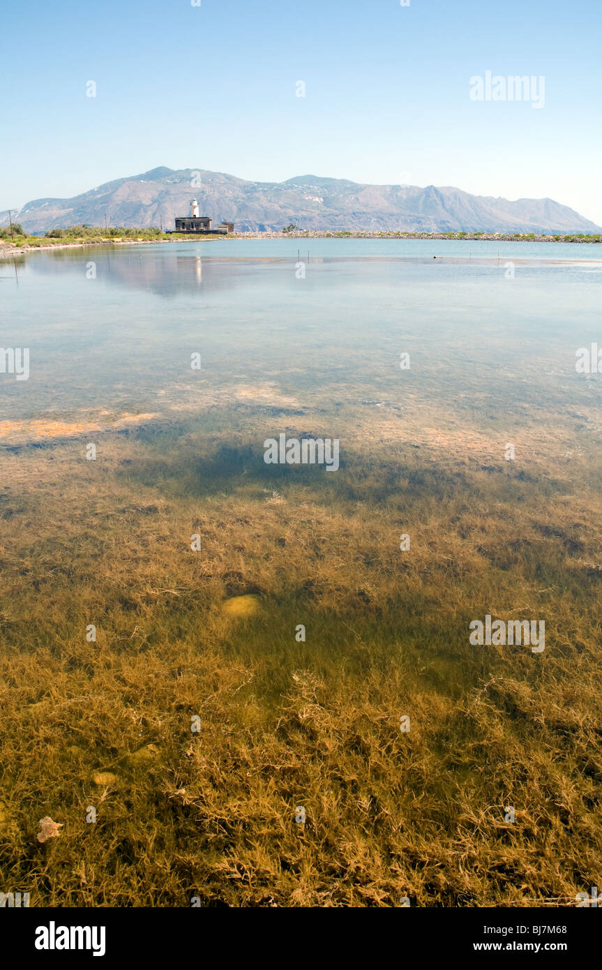 A view of the Laghetto di Lingua, or 'little salt lake', in the town of Lingua, on the Aeolian island of - Stock Image