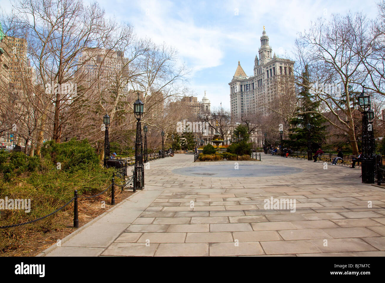 City Hall Park in Manhattan, New York City - Stock Image