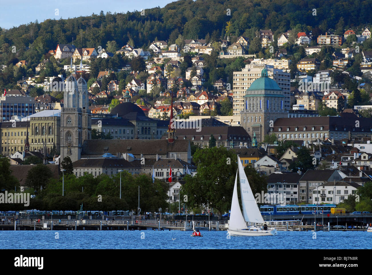 Townscape of Zurich and the Zurich Lake, Switzerland - Stock Image
