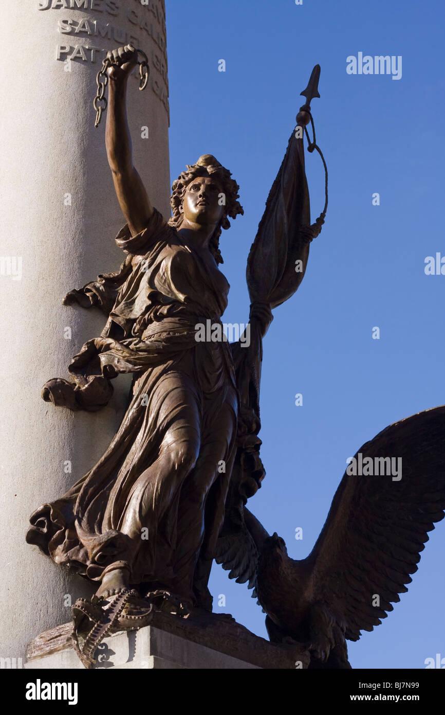 Statue in the Boston Common made by the Henry Bonnard Bronze Company commemorating the Boston Massacre, Boston Massachusetts. Stock Photo