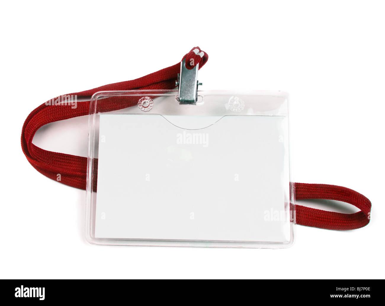 blank business badge isolated on white - Stock Image