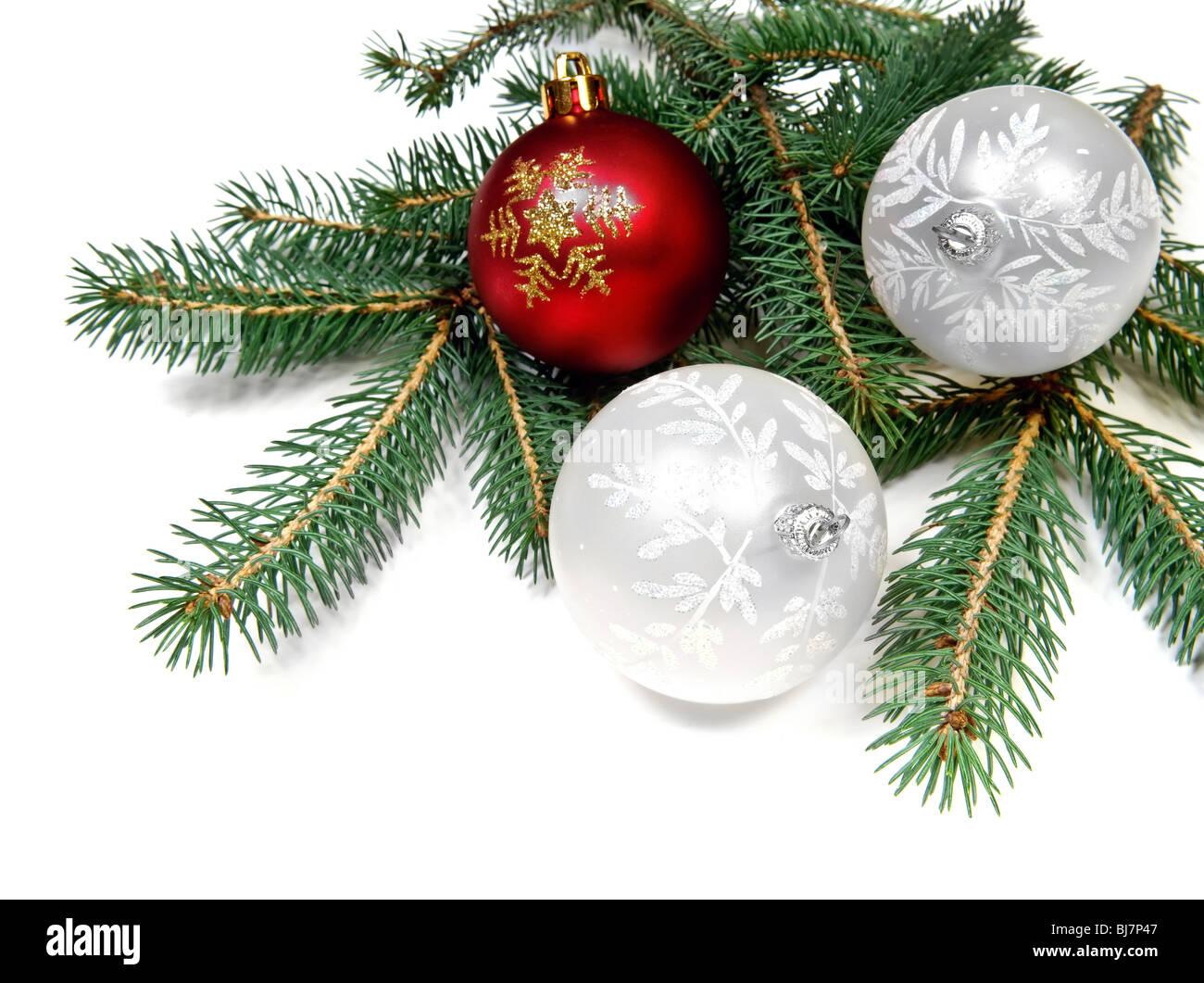 Christmas balls on pine tree branch over white background - Stock Image