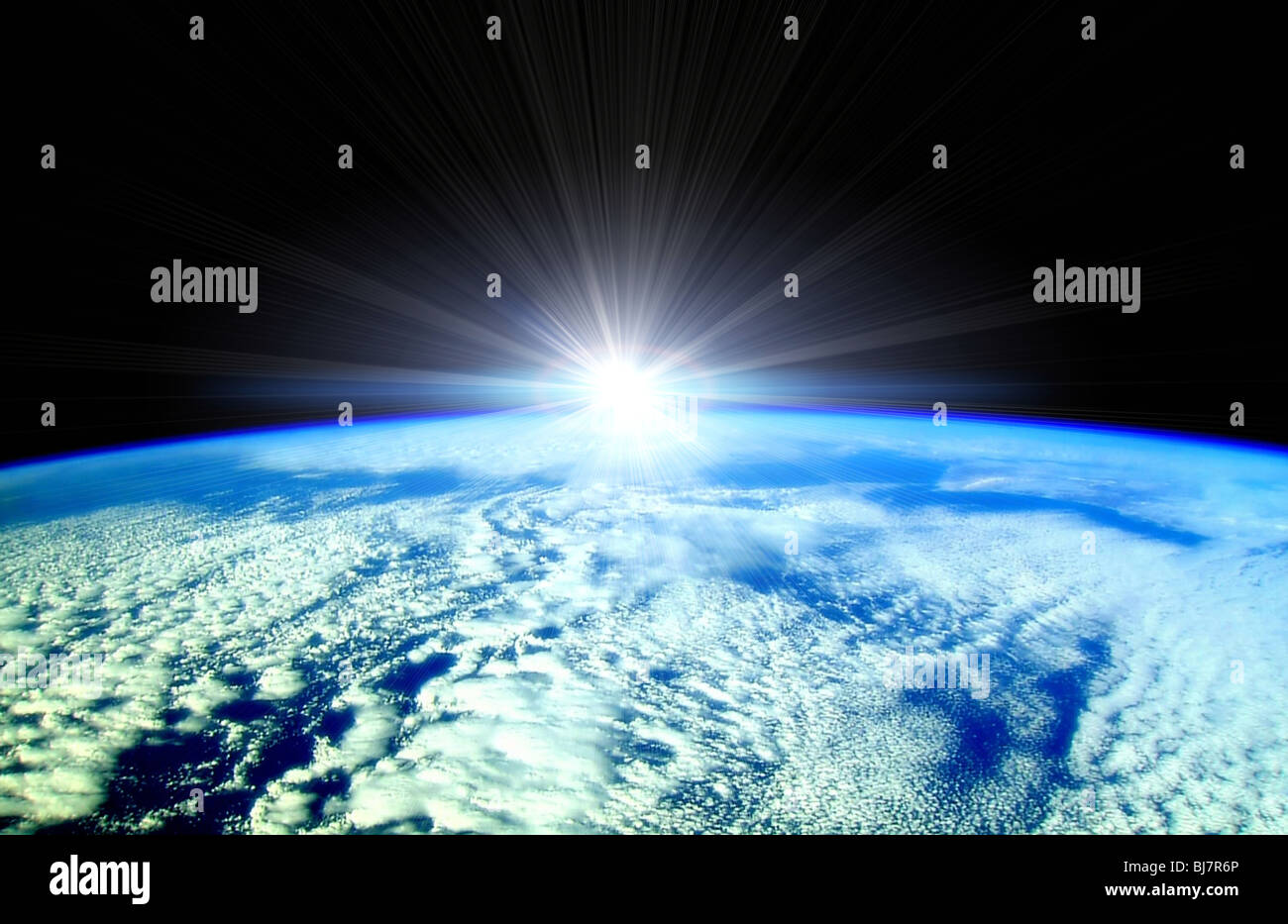 Rising Sun over Earth horizon illustration Stock Photo