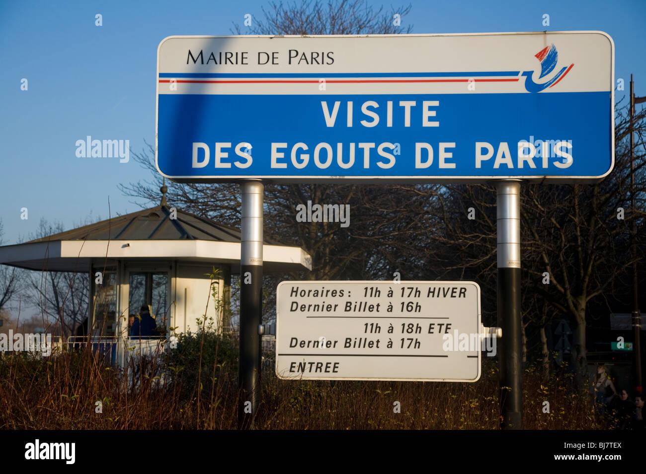 Sign above the entrance of the tourist tour of Paris sewers – Visite Des Egouts De Paris / sewer museum visit in - Stock Image