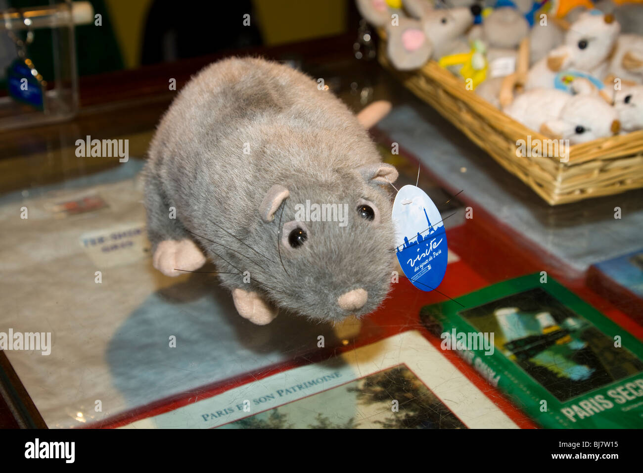 Soft toy rat in the gift shop @ the tourist tour of the Paris sewers – Visite Des Egouts De Paris / sewer visit - Stock Image
