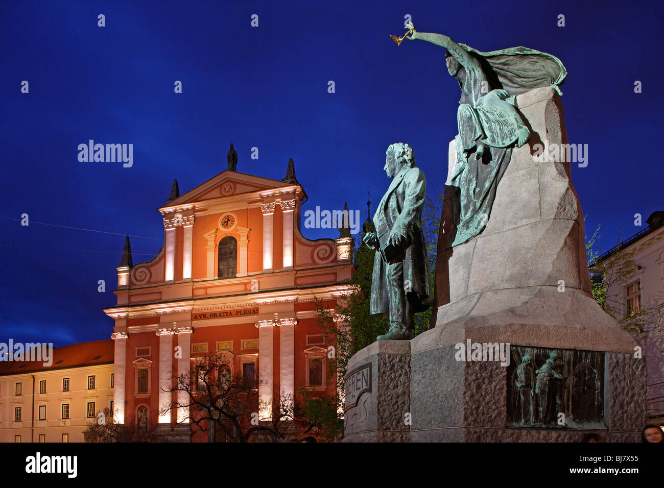 Ljubljana Franciscan Church of the Annunciation Baroque 17th century Preseren Square Monument to France Preseren - Stock Image