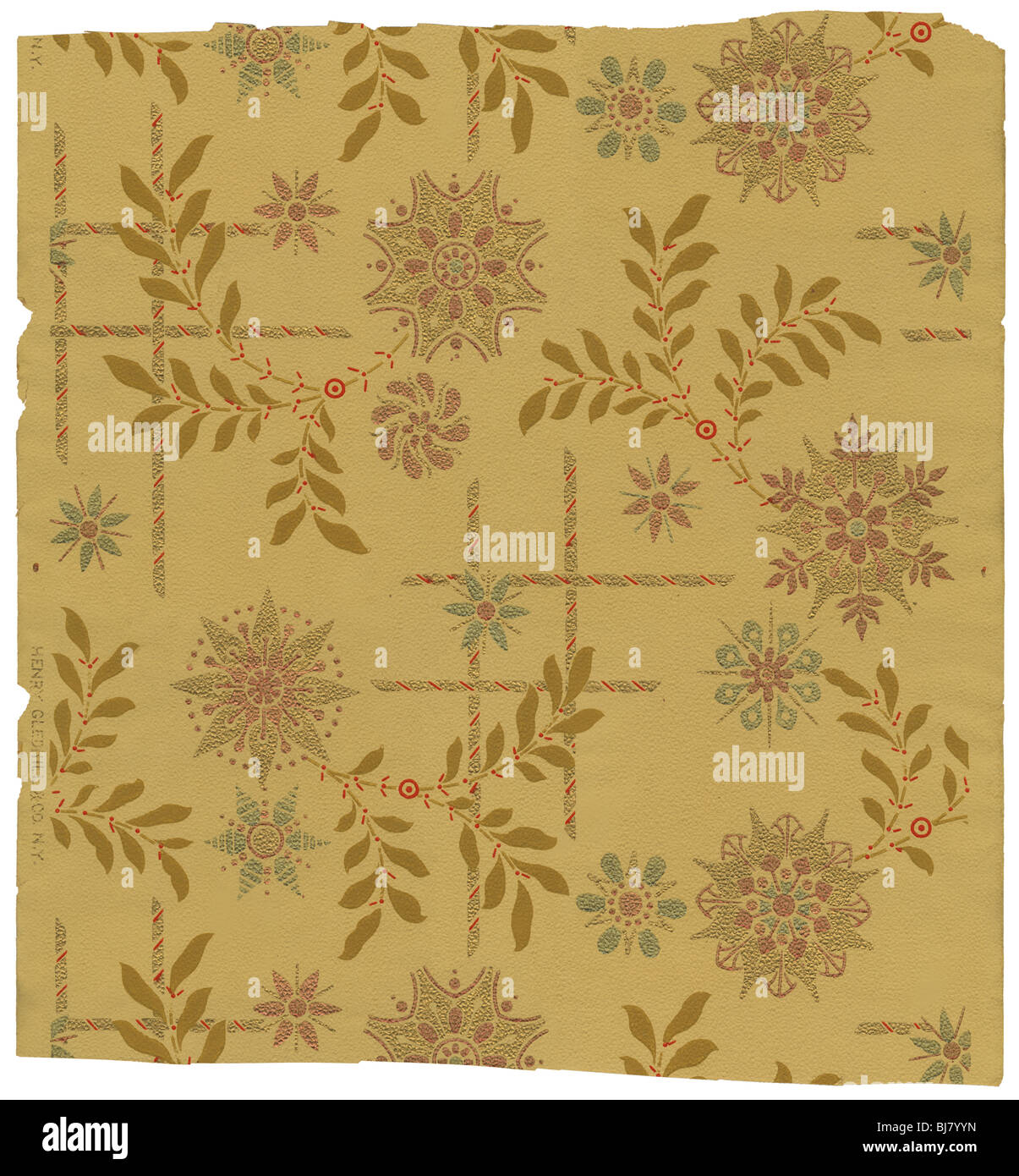 Circa 1880s Victorian wallpaper by Henry Gledhill & Co of New York. - Stock Image