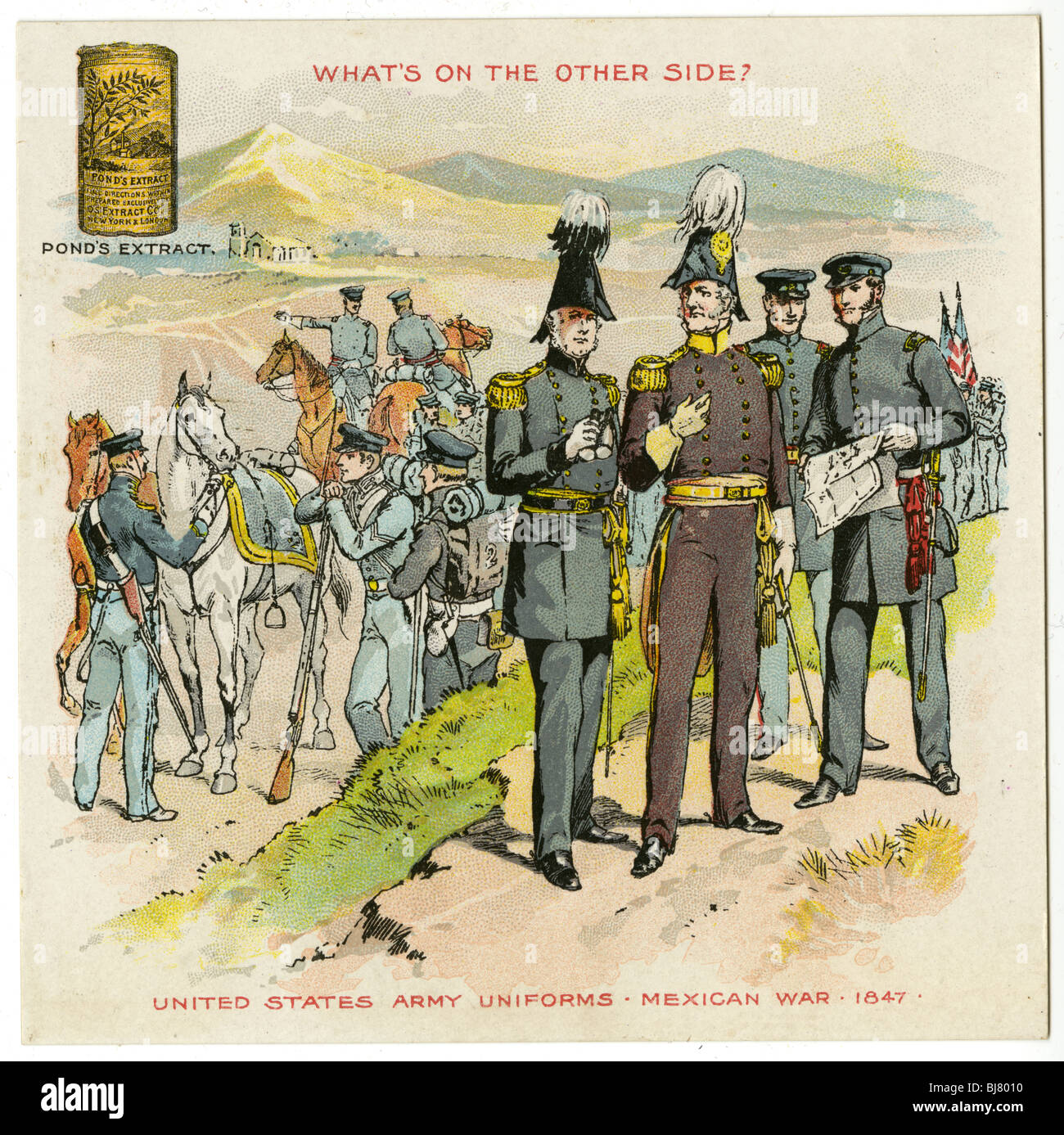 Circa 1890 Victorian trade card for Pond's Extract. United States Army Uniforms, Mexican War, 1847. - Stock Image