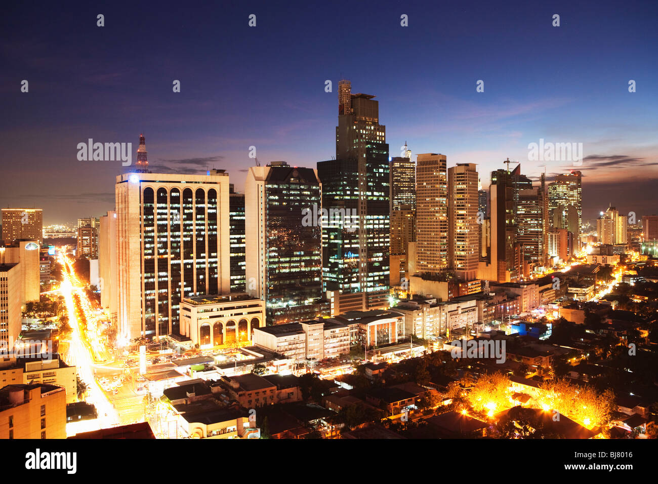 Night shot of business district Makati; Manila; Philippines Stock Photo
