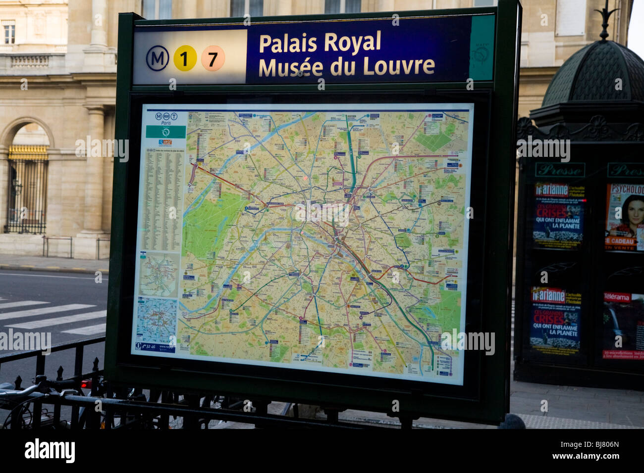 metro tube street tourist information street map of paris france at the musee louvre museum underground metro station