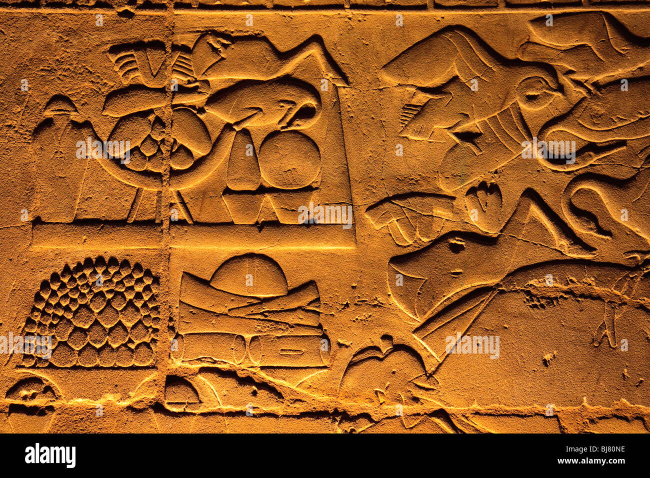 Africa Egypt Hieroglyphs Luxor Temple Night - Stock Image