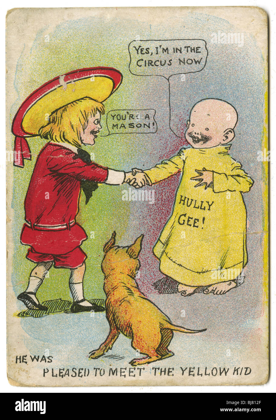 Circa 1904 Buster Brown and the Yellow Kid trading card, with Tige the dog, by R.F. Outcault. - Stock Image