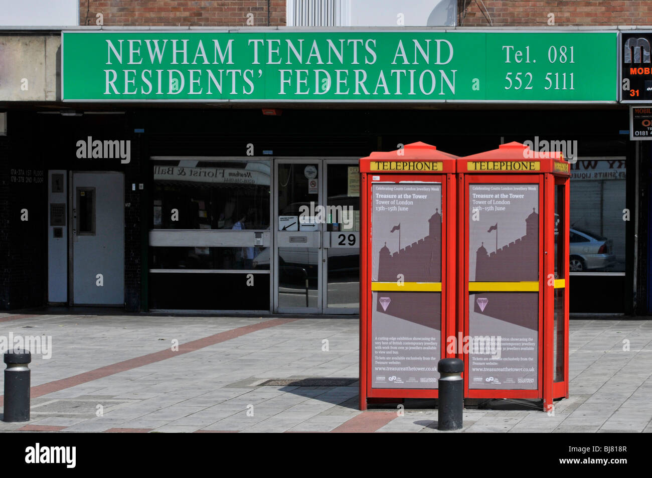 Newham Tenants and Residents Federation sign above premises - Stock Image