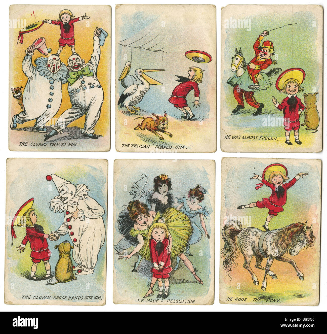Six circa 1904 'Buster Brown at the Circus' trading cards, with Tige the dog, by R.F. Outcault. - Stock Image