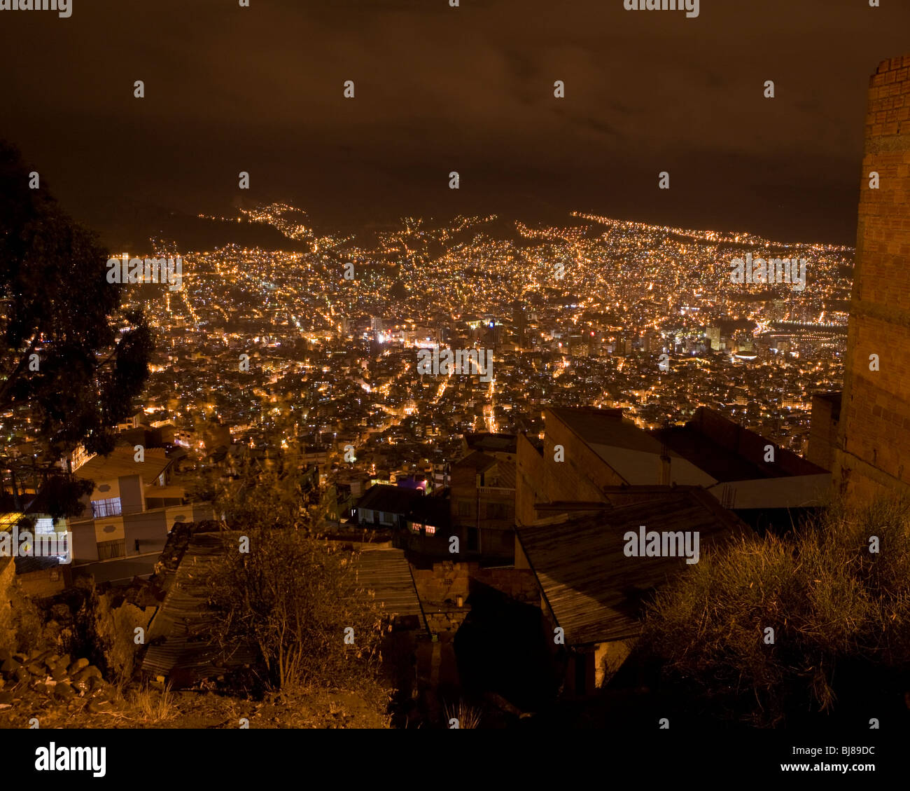 View of la paz, bolivia at night, as seen from el alto - Stock Image