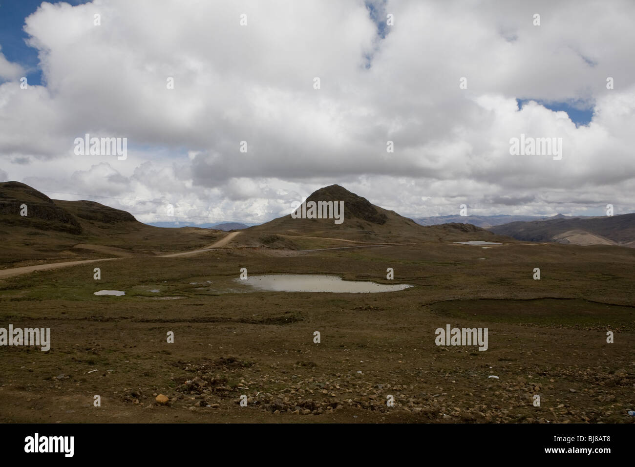 Lanscape from the mountains north of lake titikaka, bolivia - Stock Image