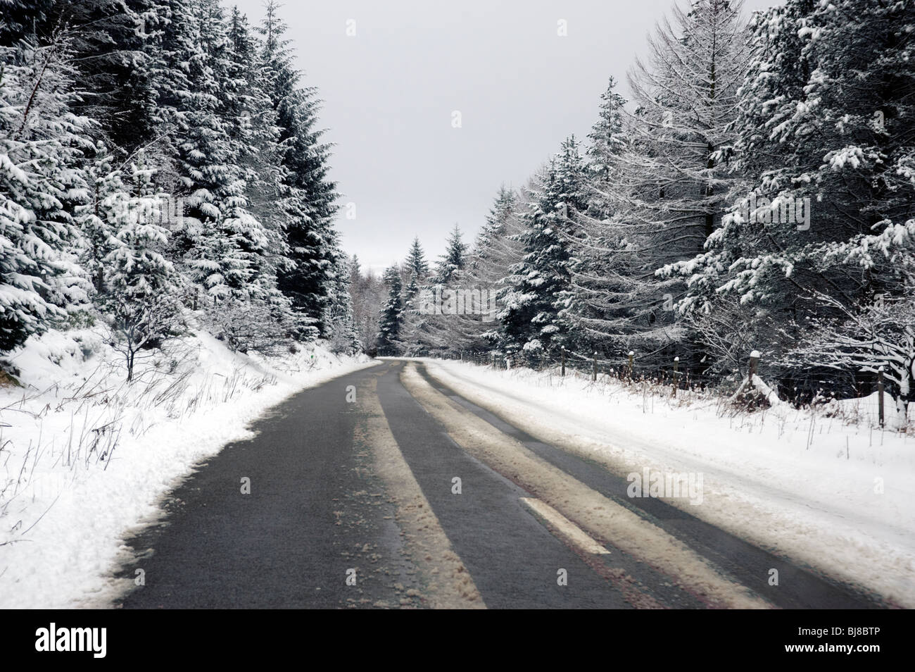 Snake Pass,A57,in winter snow,Derbyshire,Peak District,UK - Stock Image