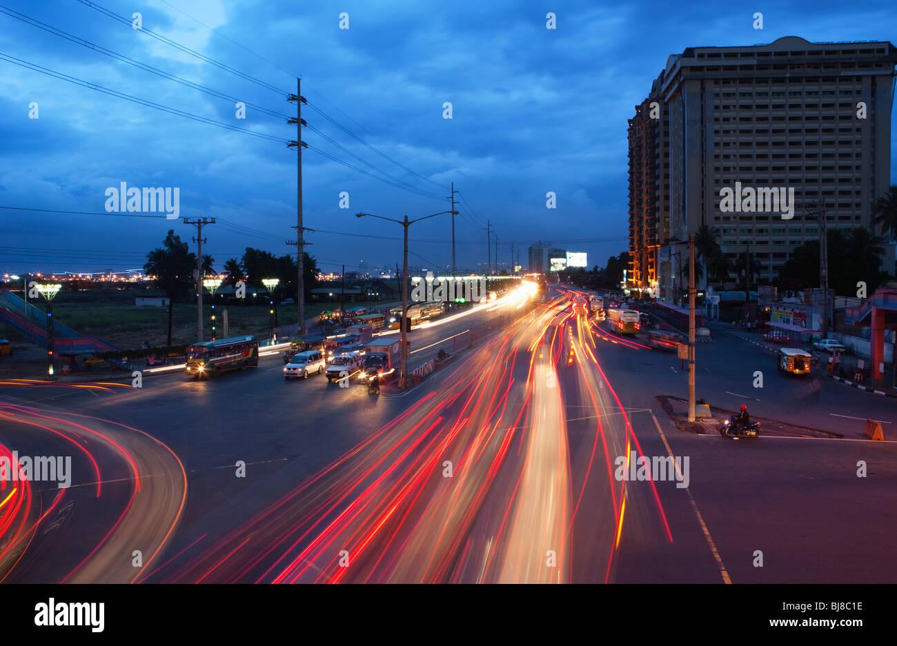 Car trails; Manila; Philippines - Stock Image