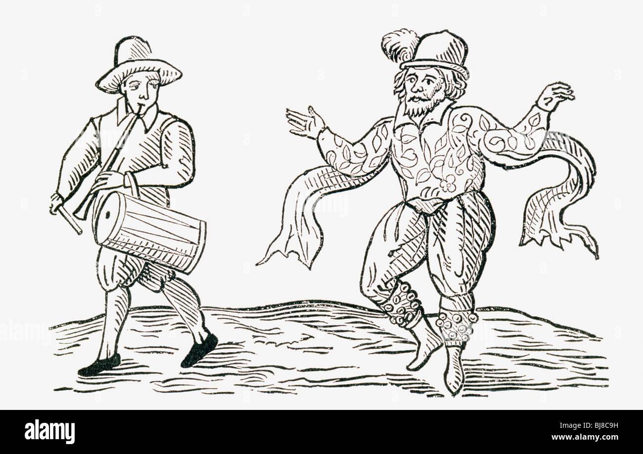 William Kemp Dancing the Morris. William Kempe, died c.1603. English actor and dancer. - Stock Image