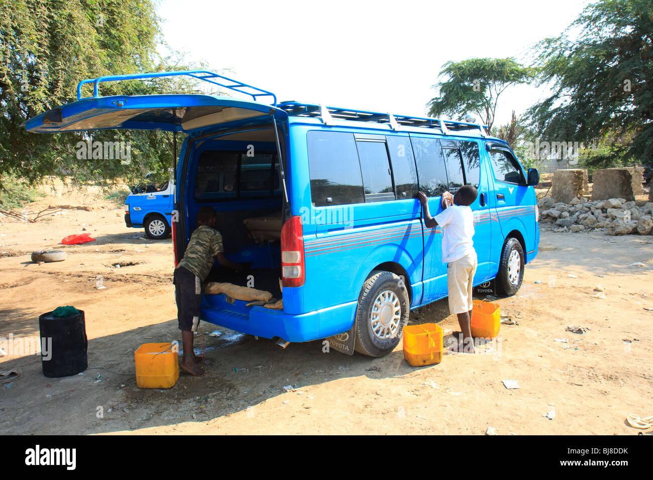 Africa Angola Benguela Blue Minibus Transport - Stock Image