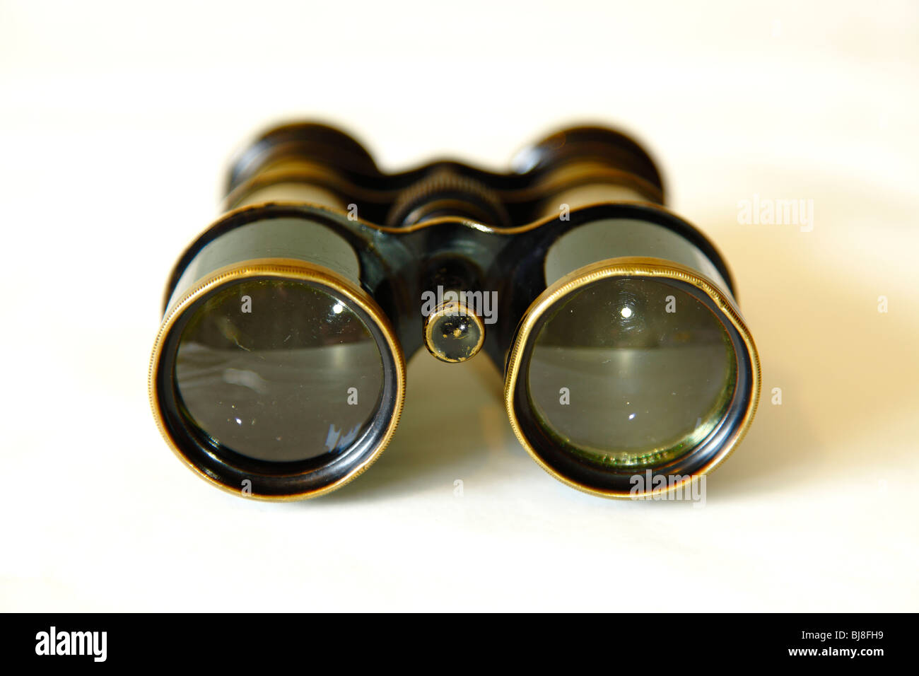Old antique vintage brass and steel Binoculars or field glasses. - Stock Image