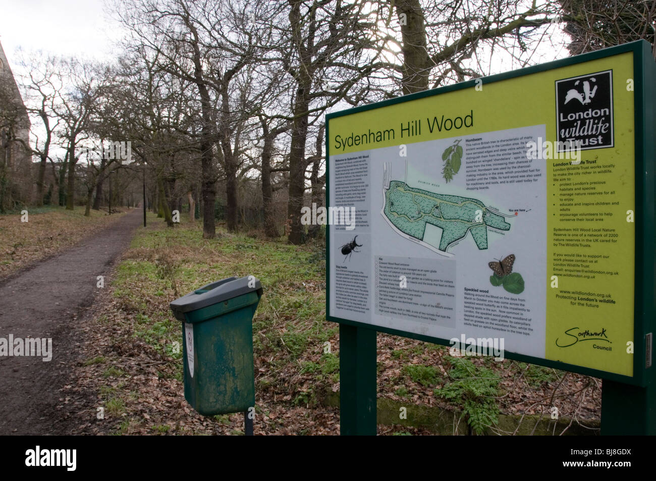 Information Sign at entrance to Sydenham Hill Wood, South London, England - Stock Image
