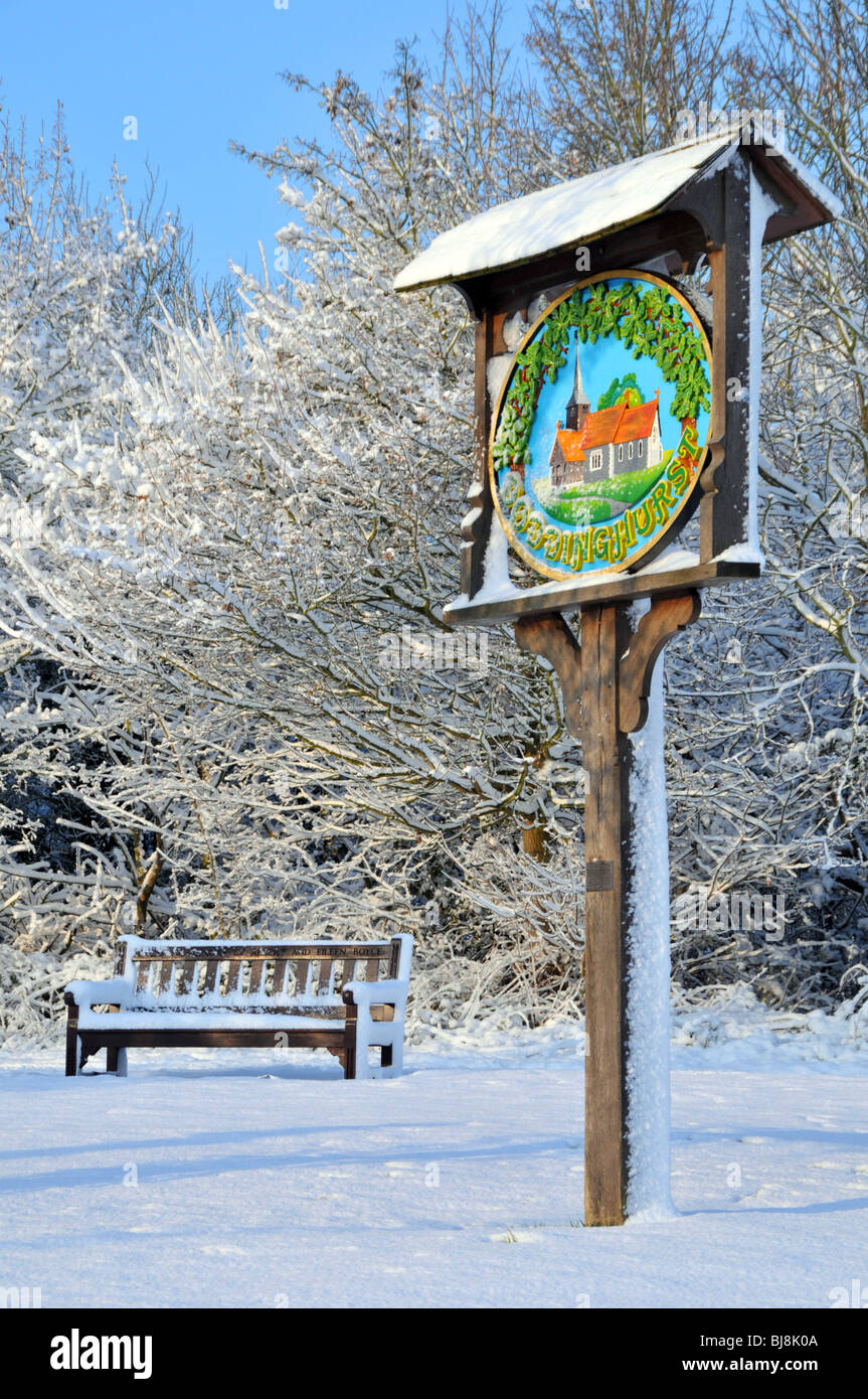 Winter wonderland village green and sign - Stock Image