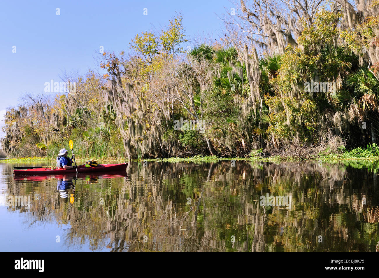 A kayaker paddles on Spring Garden Run - Stock Image
