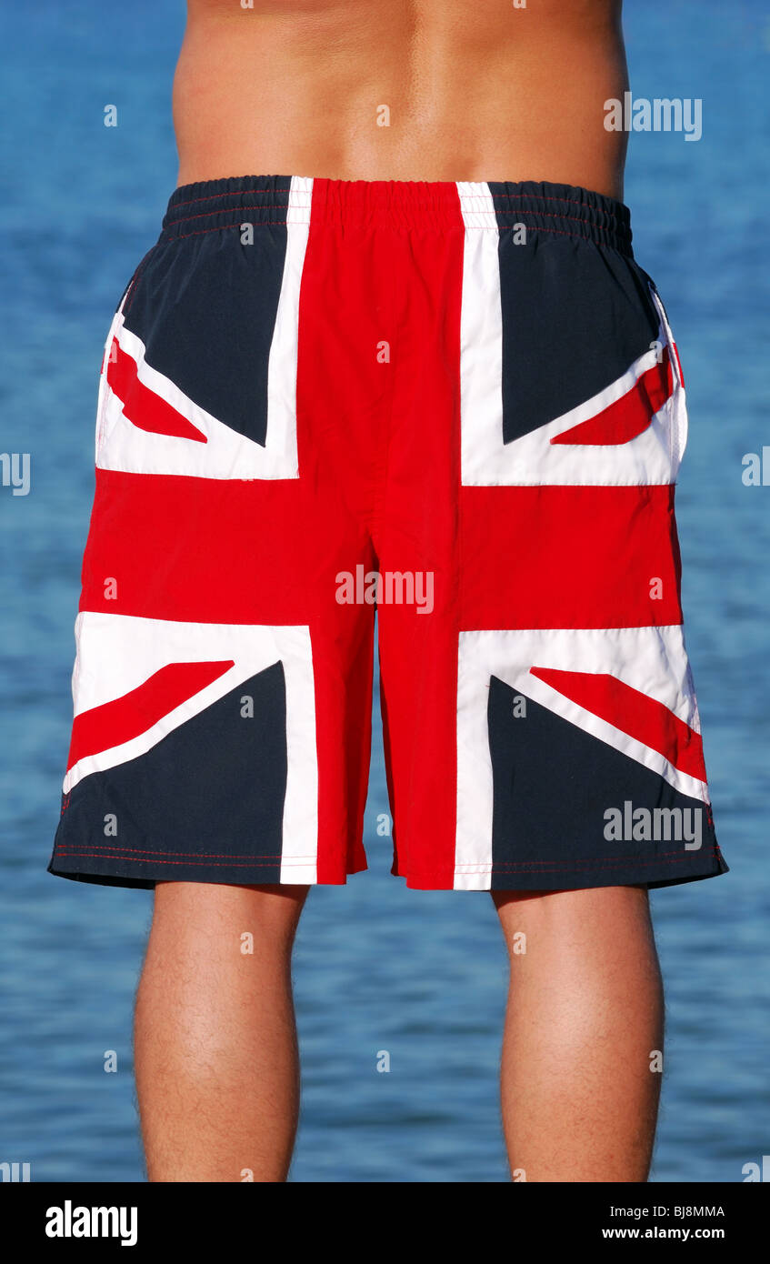 0944f8cc3c Young male wearing Union Jack swimming trunks Stock Photo: 28466042 ...