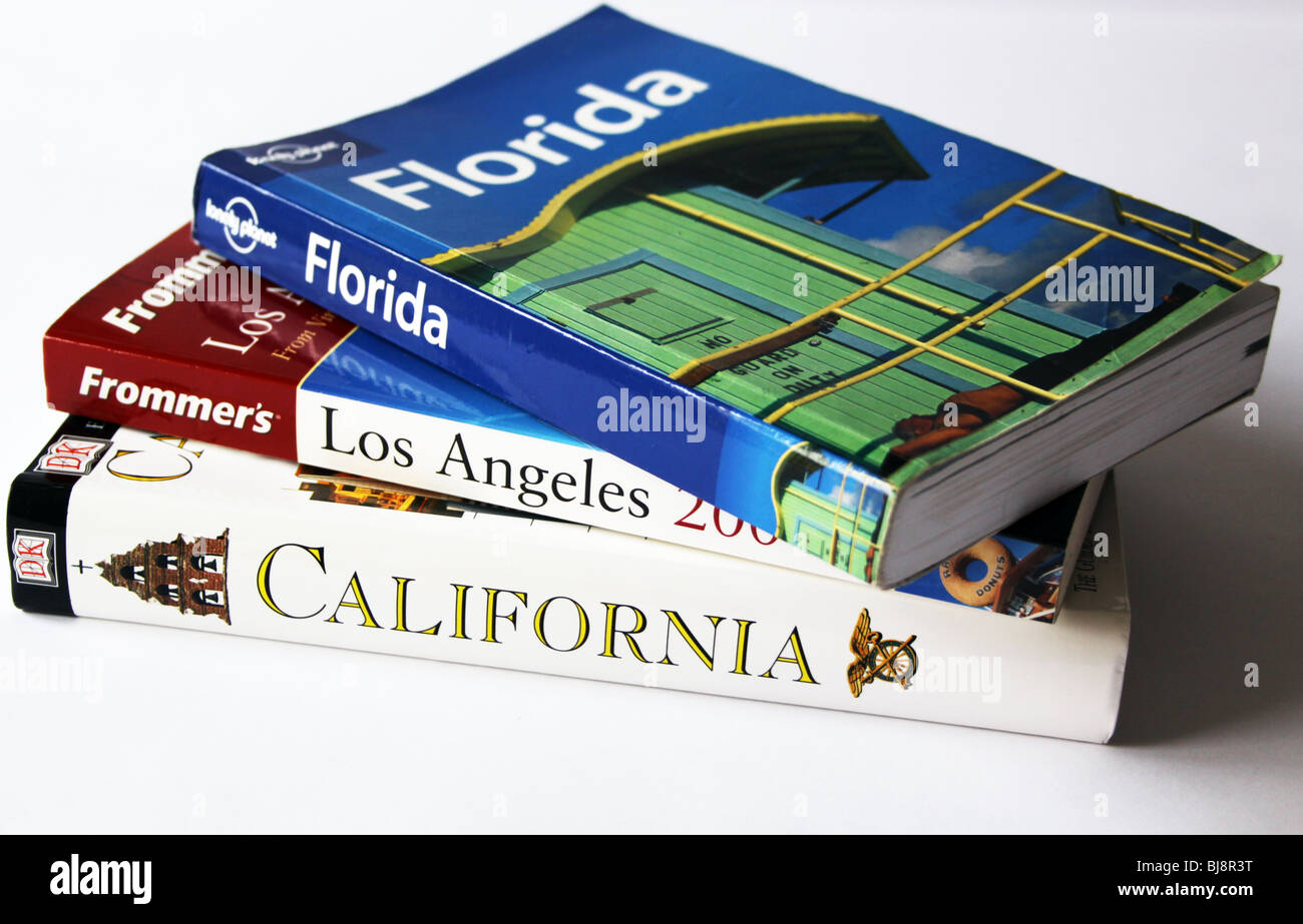 USA Guide books in a pile - Stock Image